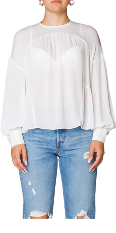 Shirred Silk Crepe Blouse
