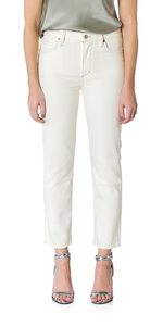 Cara High Rise Jeans in Light Cream
