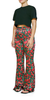 Fitted Flared Pants Floral Burnout