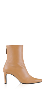Leather Trim Boots Camel