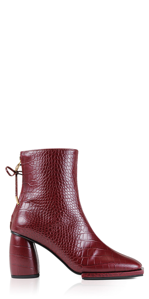 Croc-Effect Leather Square Ribbon Boots