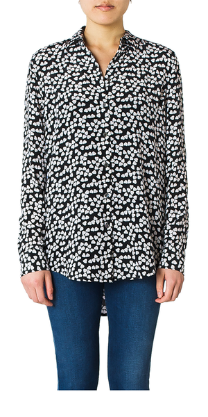 Essential Heart Print Silk Shirt