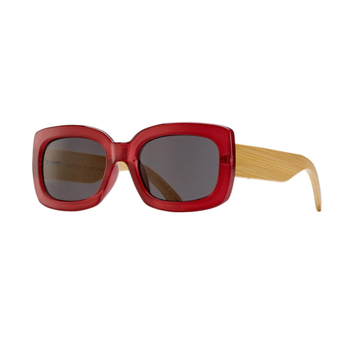 CAM SUNGLASSES (Dark Rose / Smoke / Natural Bamboo)