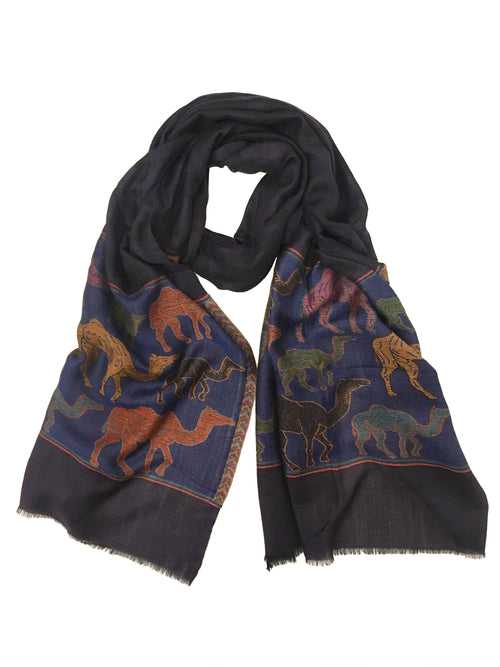 CAMEL WRAP (NAVY/ MULTI)