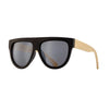 CAS SUNGLASSES (Matte Black / Silver Flash Mirror / Natural Bamboo)