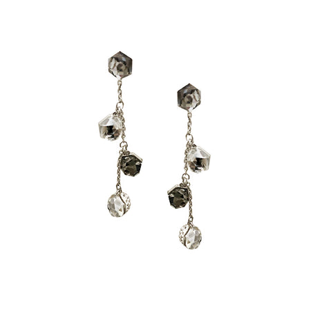 DOUBLE DROP EARRINGS GUNMETAL