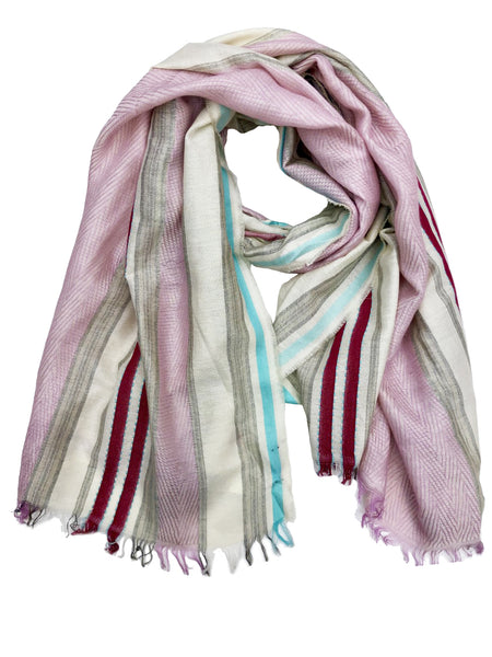 REVERSIBLE WOOL W/ RIBBIN WRAP (ORCHID/ TAUPE)