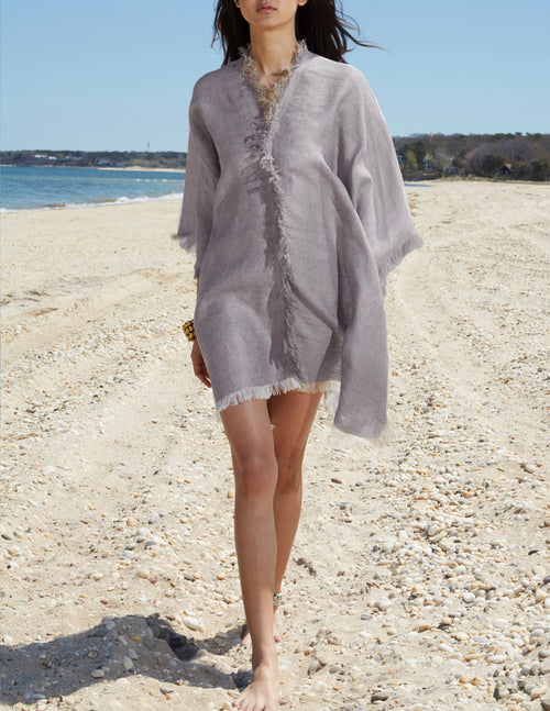 LINEN PONCHO (DOVE GREY)