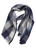 HERRINGBONE PLAID WRAP (NAVY/GREY/ LIGHT BLUES)
