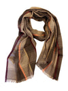 HERRINGBONE PLAID WRAP (TAUPE/ BEIGE/ ORANGE/ MAROON)