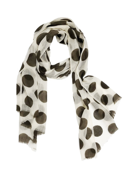 POLKA-DOT WRAP (CREAM/ OLIVE GREEN)