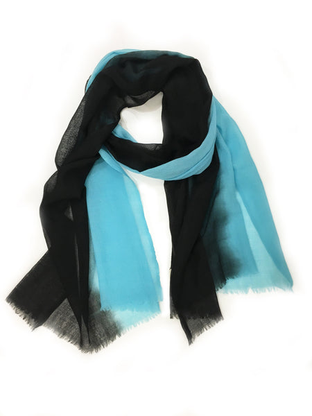 OMBRE WOOL WRAP (BLACK/AQUA)