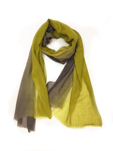 OMBRE WOOL WRAP (CHARTREUSE/ GREY)