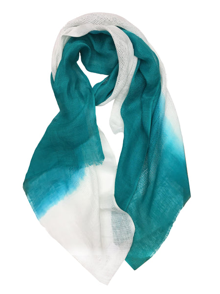 OMBRE CRISS CROSS WRAP (WHITE/TEAL)