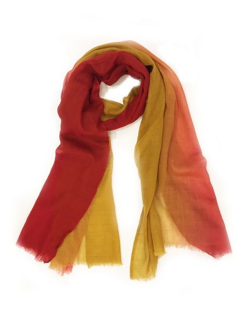 OMBRE WOOL WRAP (RED/MUSTARD)
