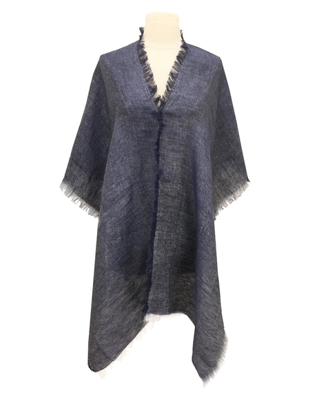DENIM BLUE IKAT JACQUARD WRAP