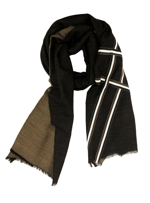 REVERSIBLE WOOL W/ RIBBIN WRAP (BLACK/ BEIGE)