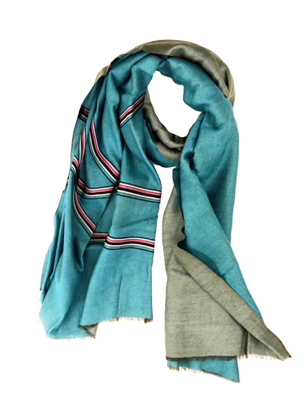 REVERSIBLE WOOL W/ RIBBON WRAP (AQUA/ PLATINUM)