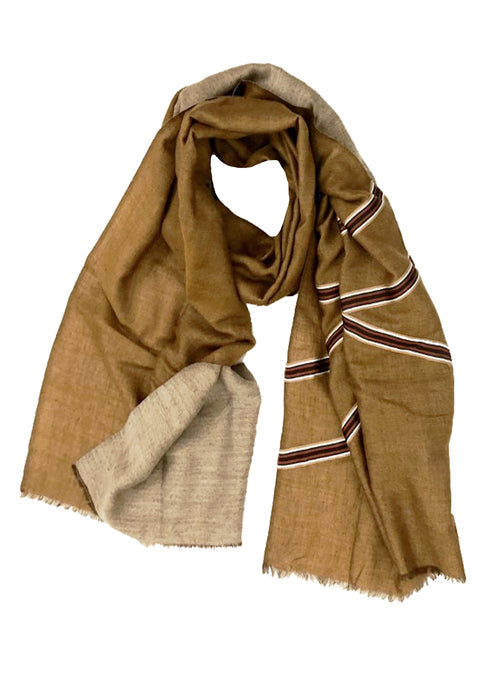 REVERSIBLE WOOL W/ RIBBIN WRAP (BEIGE/ CAMEL)