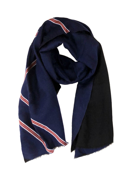 REVERSIBLE WOOL W/ RIBBON WRAP (MIDNIGHT BLUE/ BLACK)