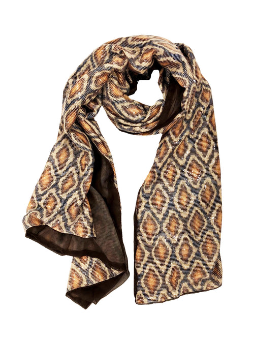 SEQUIN PYTHON WRAP (LARGE, BROWN/ BLUE)