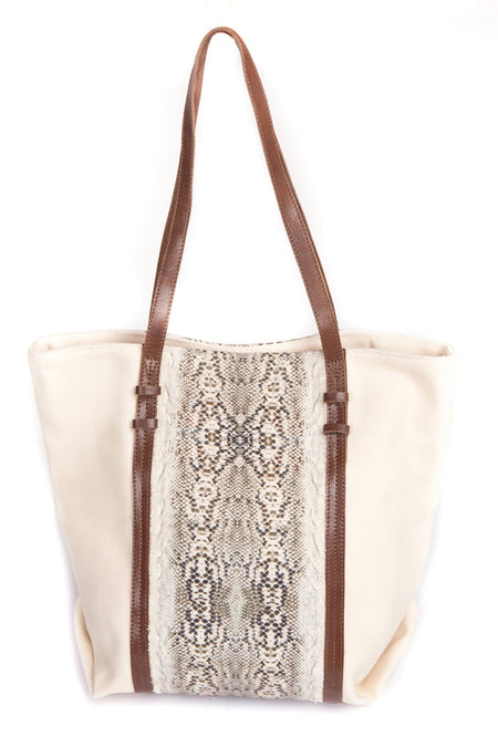 SNAKE PRINT TOTE BAG (Cream)