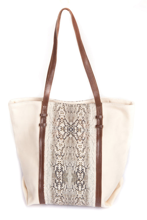 SNAKE PRINT SHOPPER BAG (Cream)