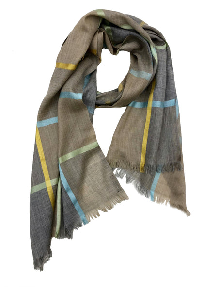 HERRINGBONE PLAID WRAP (TAUPE/ BLUE/ GREEN/ YELLOW)