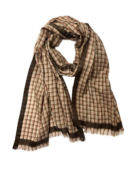 UNISEX BASKETWEAVE WRAP (TAUPE/ BEIGE/ CORAL)