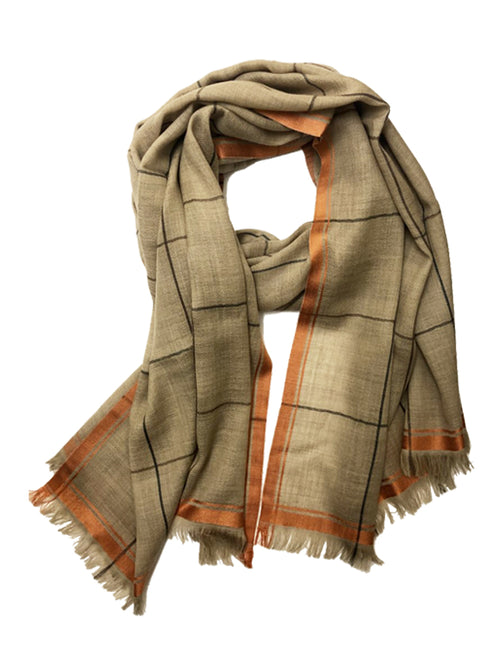 UNISEX BORDER WRAP (BEIGE/ ORANGE)