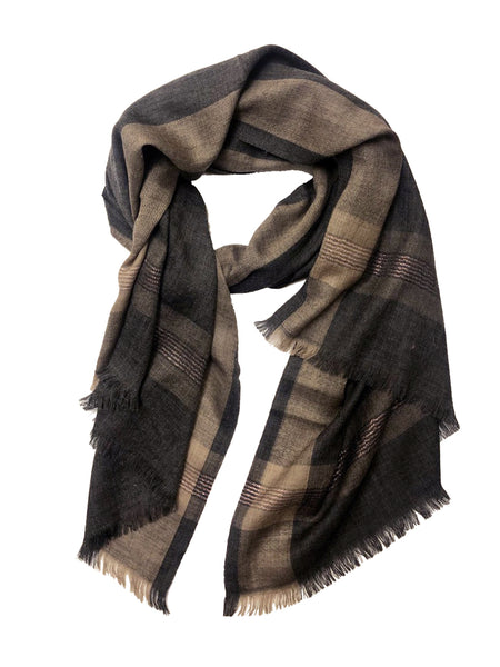 UNISEX CHECK WRAP (TAUPE/ BROWN)