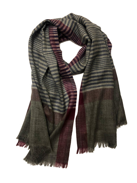 REVERSIBLE WOOL W/ RIBBON WRAP (BLACK/ BEIGE)