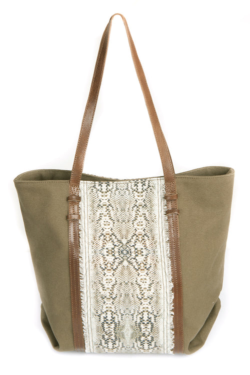 SNAKE PRINT SHOPPER BAG (Olive)
