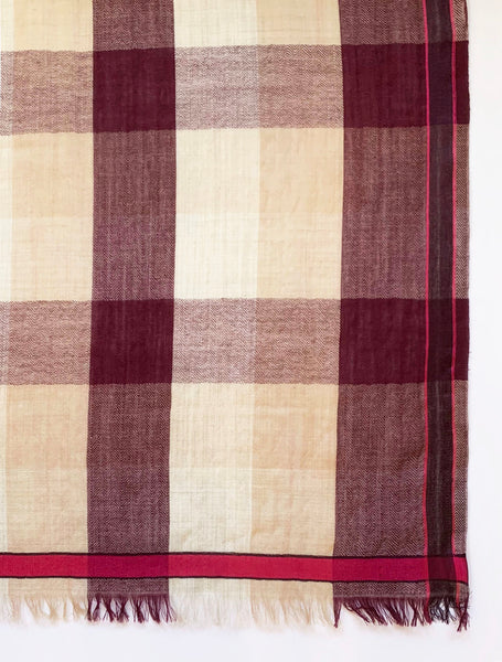 UNISEX  PLAID WRAP (TAUPE/ BURGUNDY/ PINK)