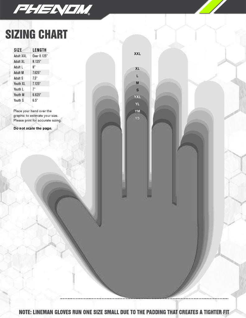 phenom elite gloves size chart