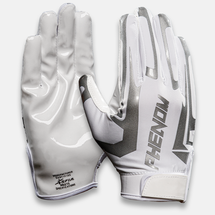 Phenom Elite White Liquid Football Gloves - VPS1 - Phenom Elite