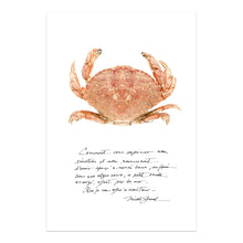 Charger l'image dans la galerie, affiche crabe, crabe, photographie crabe, crabe sur fond blanc, crab photography, crab poster, crab on white background, coastal art, art maritime, À Marée Basse, crabe et écriture
