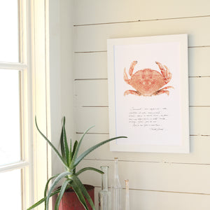 affiche crabe, crabe, photographie crabe, crabe sur fond blanc, crab photography, crab poster, crab on white background, coastal art, art maritime, À Marée Basse, crabe et écriture
