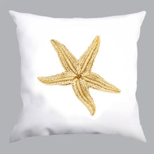 Load image into Gallery viewer, coussin blanc, coussin étoile de mer, white pillow, white pillow with starfish print, À Marée Basse