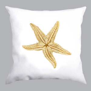 coussin blanc, coussin étoile de mer, white pillow, white pillow with starfish print, À Marée Basse