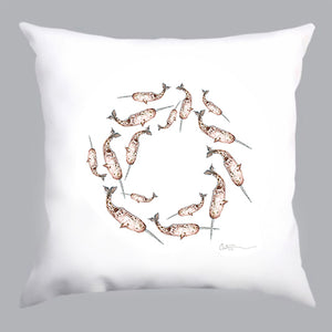 coussin blanc, coussin blanc avec illustration narvals en cercle, white pillow with narwhals in a circle, home decoration, décoration maison, À Marée Basse