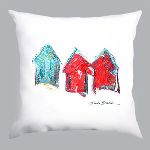 coussin blanc, coussin blanc avec imprimé salines et salanges, white pillow with red and blue house print, décoration maison, home decoration, À Marée Basse