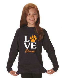 Girls Long Sleeve Orange Love T-Shirt