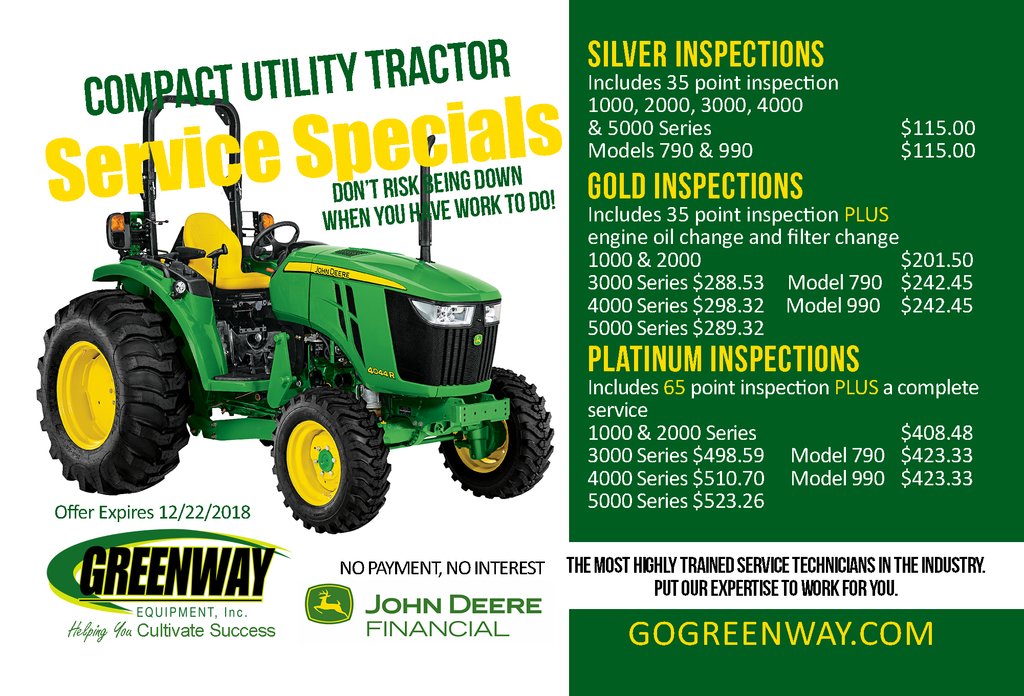 PLATINUM COMPACT UTILITY TRACTOR SERVICE SPECIAL