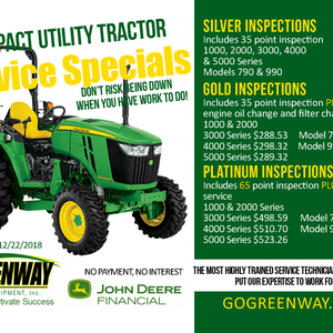 GOLD COMPACT UTILITY TRACTOR SERVICE SPECIAL