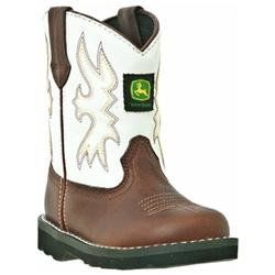 John Deere, Infant Dark Brown/White Boots, JD1133