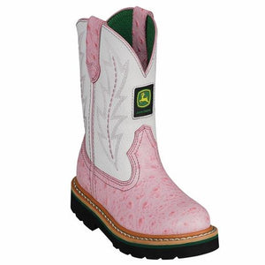 John Deere, Children Pink/White Boots, JD2171