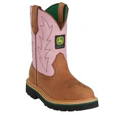 John Deere, Children Tan/Pink Boots, JD2185