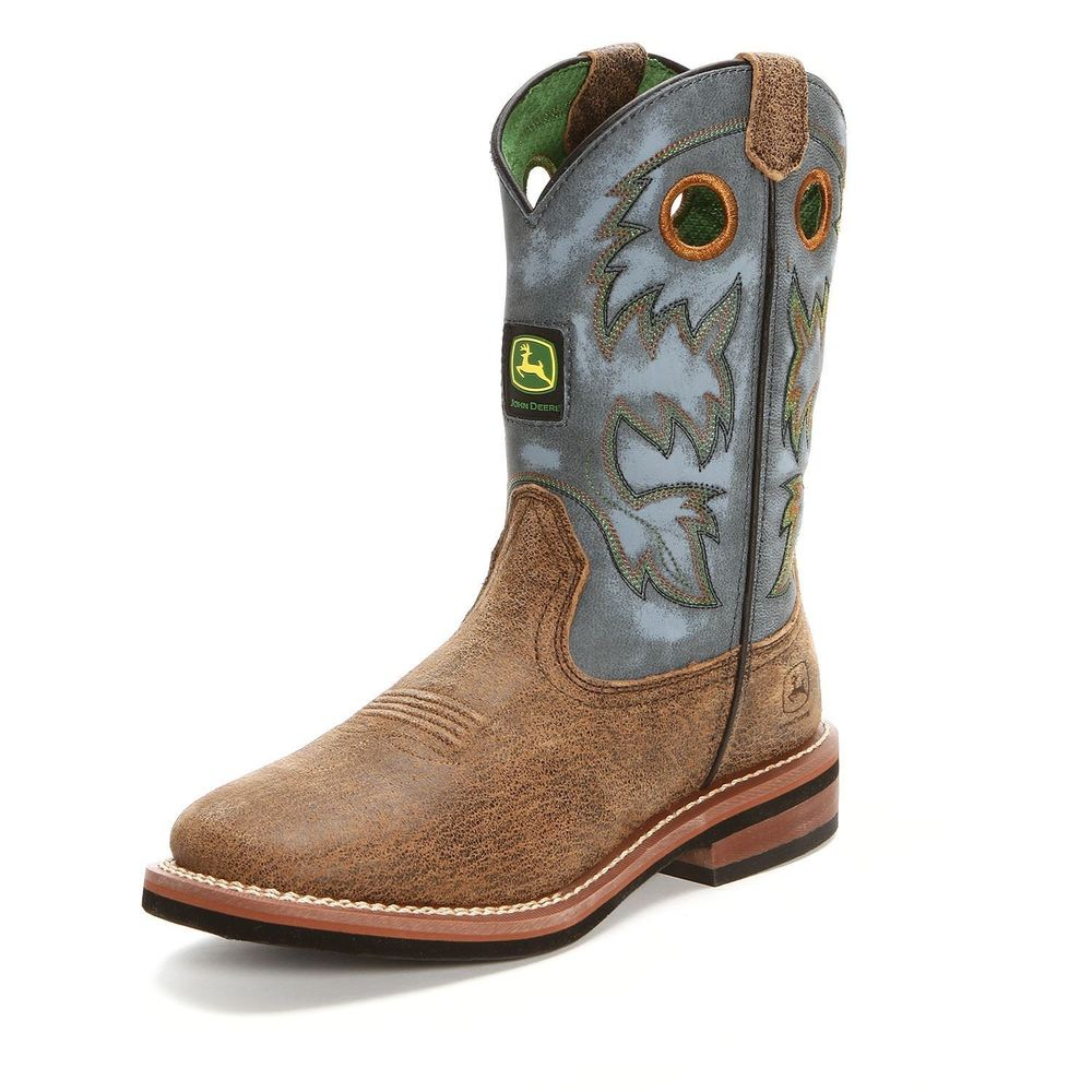 John Deere, Youth Brown/Blue Boots, JD3317