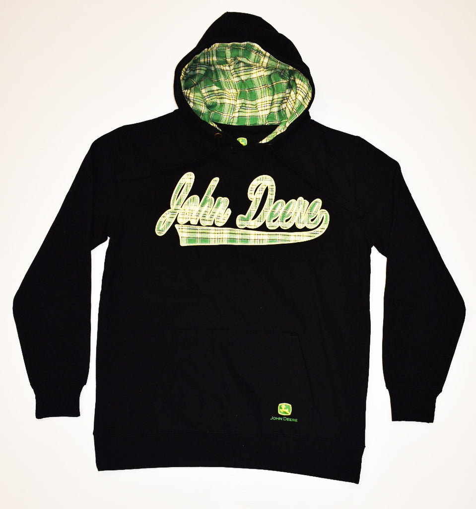 John Deere Black/Green Plaid Hoodie